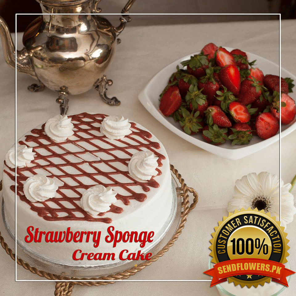 Strawberry Sponge Cream Online Cakes Delivery Pakistan