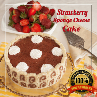 Strawberry Sponge Cheese Cake - Online Cakes Delivery - Sendflowers.pk