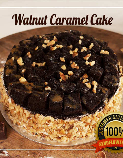 Walnut Caramel Cake - Online Cakes Delivery - Sendflowers.pk
