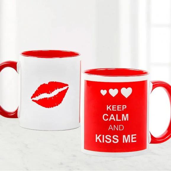 Keep Calm And Kiss Mug - Send Valentine's Mugs Lahore