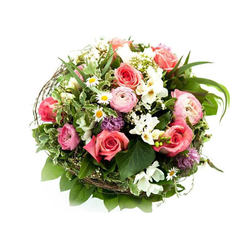 Round Handle Basket of Mixed Roses SendFlowers To Paksitan