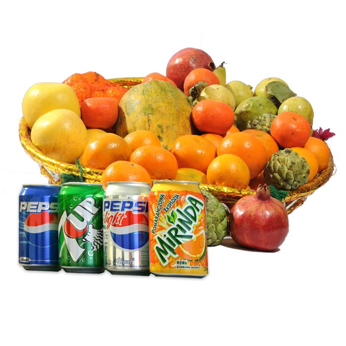 Fruits Basket With Drink - online fruit delivery