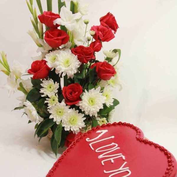 Flowers Basket With Cake- SendFlowers.PK