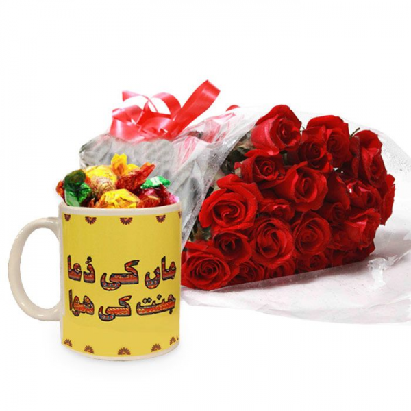 Candies Filled Mug With Roses - SendFlowers.pk