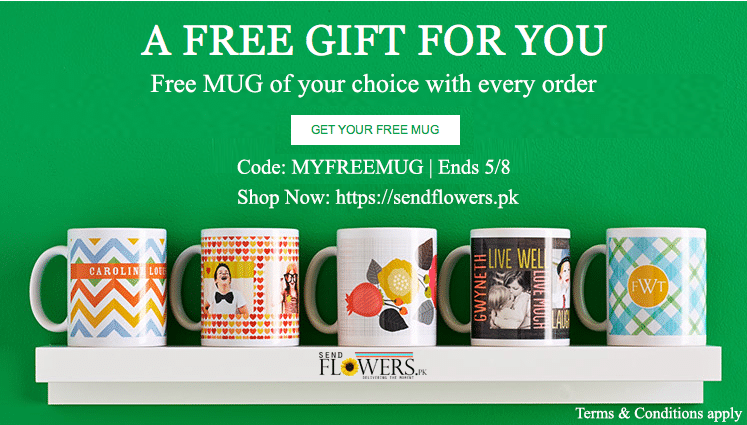 Free Mug Offer - SendFlowers.pk