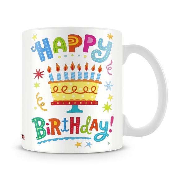 Happy Birthday Cake Mug White
