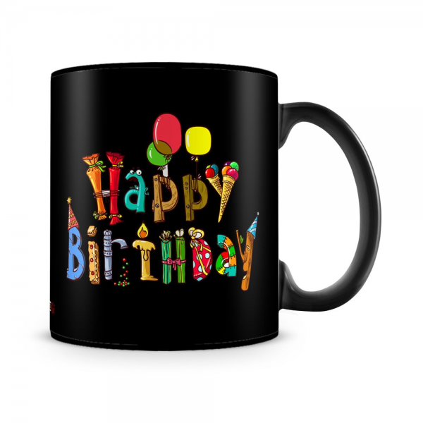 Happy Birthday Mug Black - SendFlowers.pk