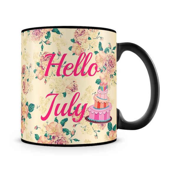 Hello July Birthday Mug Black - SendFlowers.pk