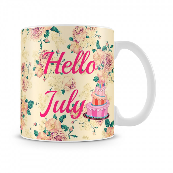 Hello July Birthday Mug White - SendFlowers.pk