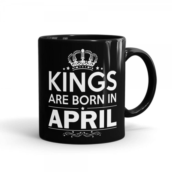 Kings Born In April Mug Black - SendFlowers.pk