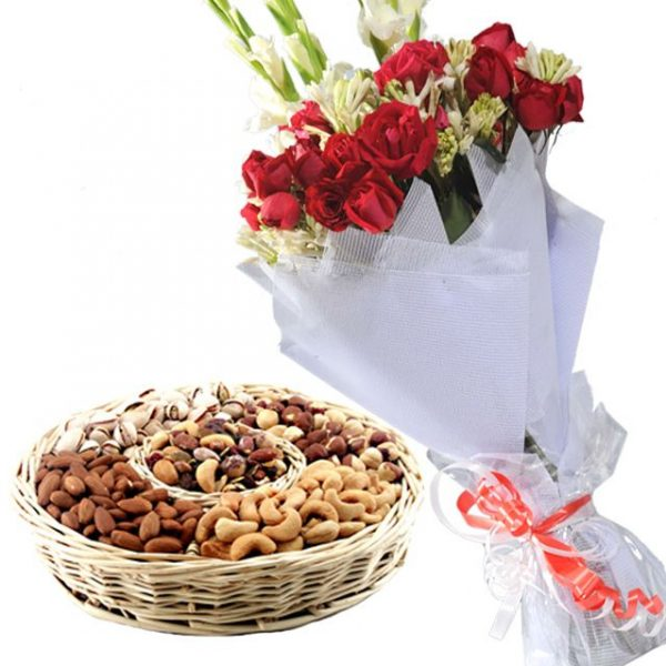 Dry Fruit with Bouquet - SendFlowers.PK