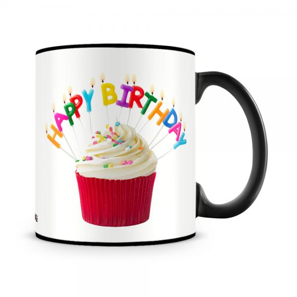 Red Cupcake Birthday Mug Black - SendFlowers.pk
