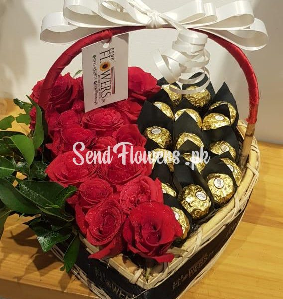 Ferrero and roses heart basket deals Pakistan