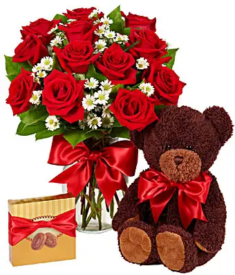 Luxury One Dozen Red Roses Bundle - SendFlowers.pk