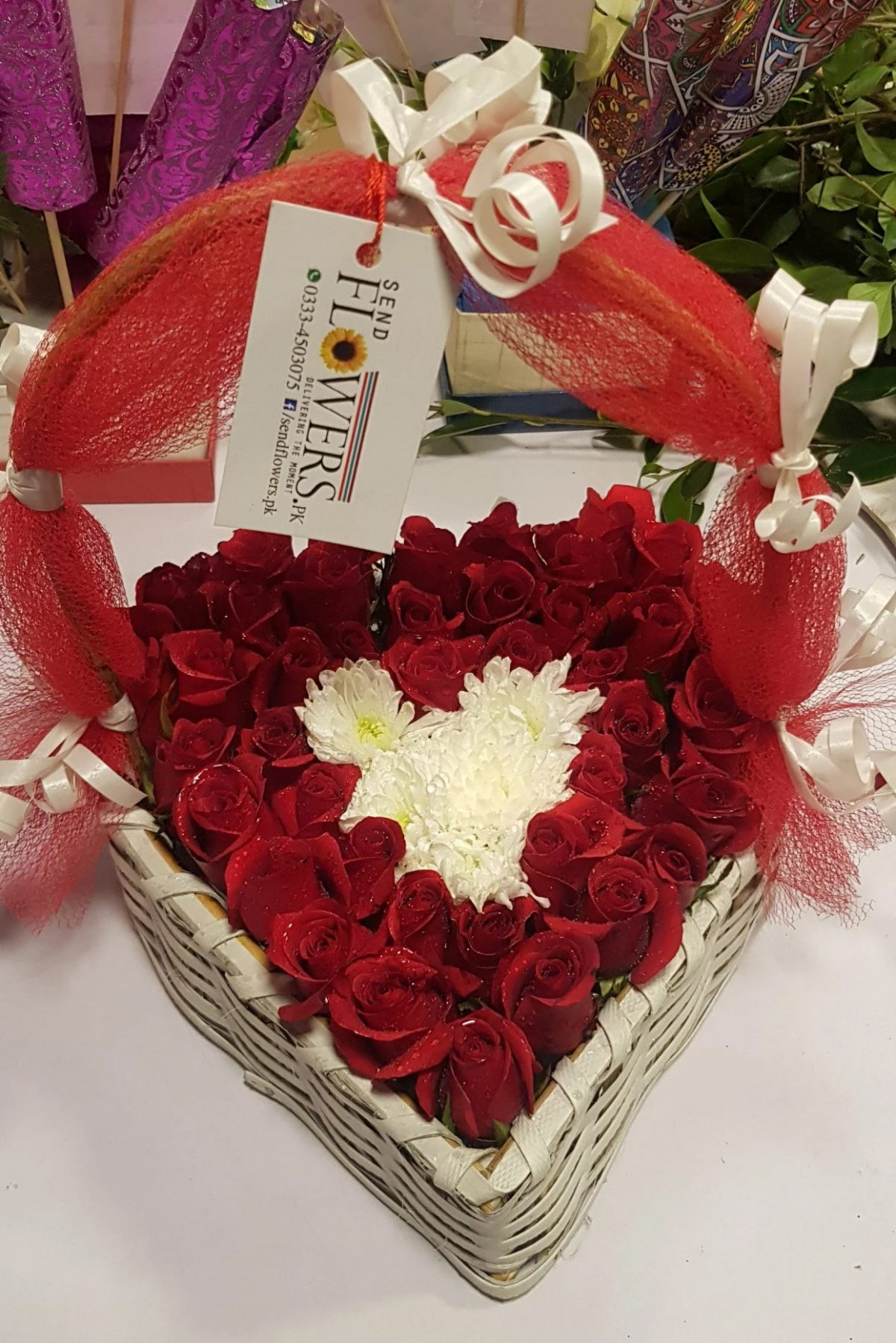 Heart Rose Basket - Online Love Flowers Delivery Pakistan