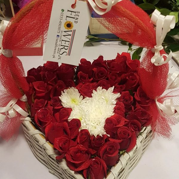 Heart Rose Basket-1-sendflowers.pk