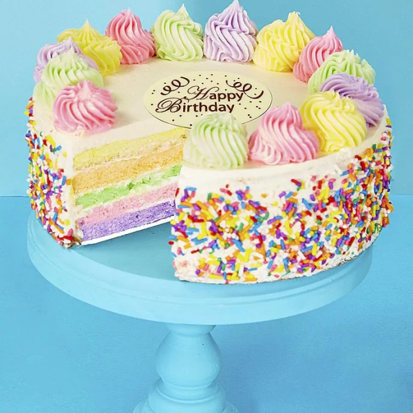 Delivery of Mixed Color Birthday Cake on Birthday