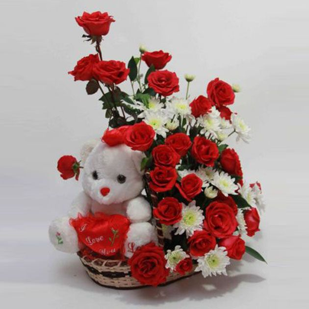 Delivery of Teddy in Love Basket on Birthday