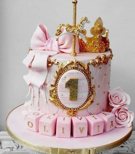 Delivery of Pink & Gold Love Cake in Pakistan