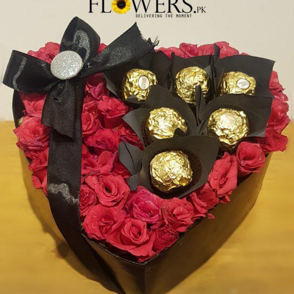 Delivery of Golden Love Heart Flowers in Pakistan
